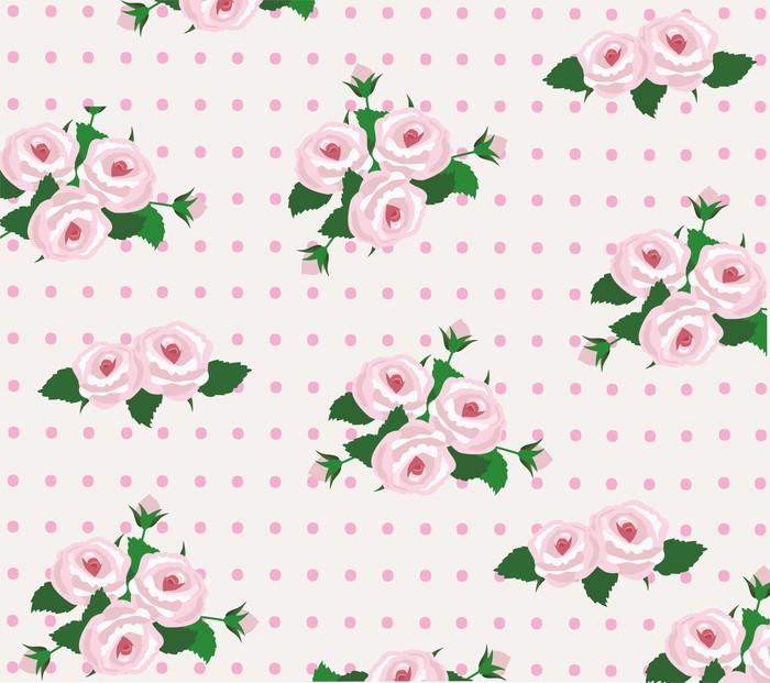 Vinylová Tapeta Vektor růže bezešvé pozadí - Květiny
