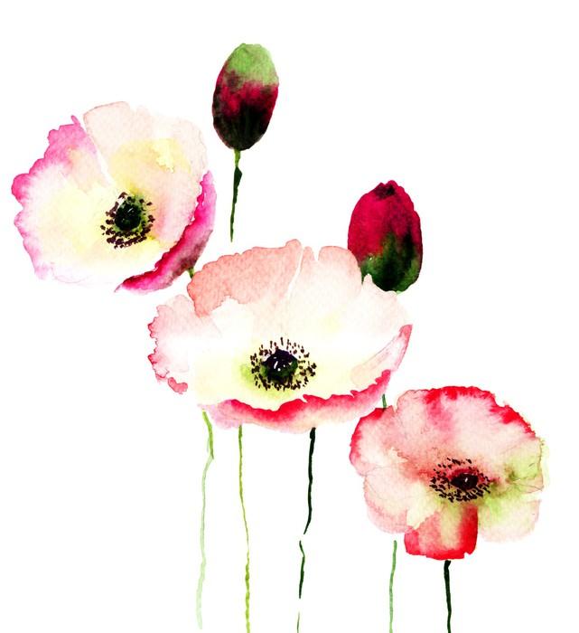 Stylized poppy flowers illustration wall mural pixers we live stylized poppy flowers illustration vinyl wall mural flowers mightylinksfo
