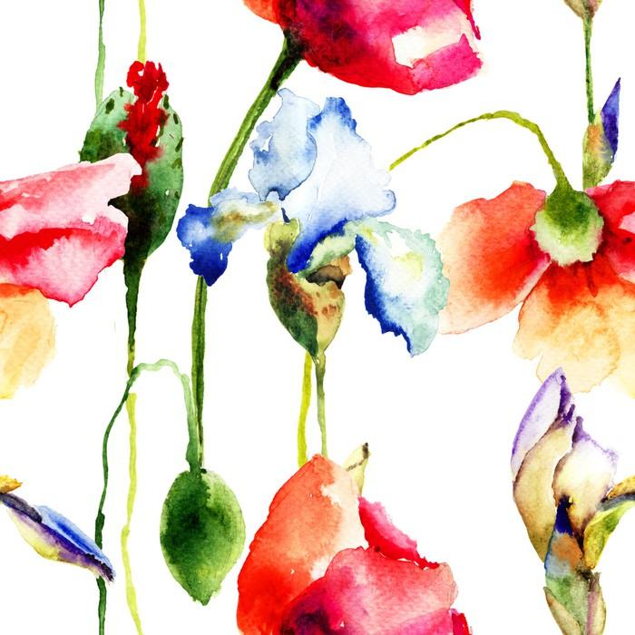 Vinylová Tapeta Bezešvé tapety s Iris a mák květiny - Květiny