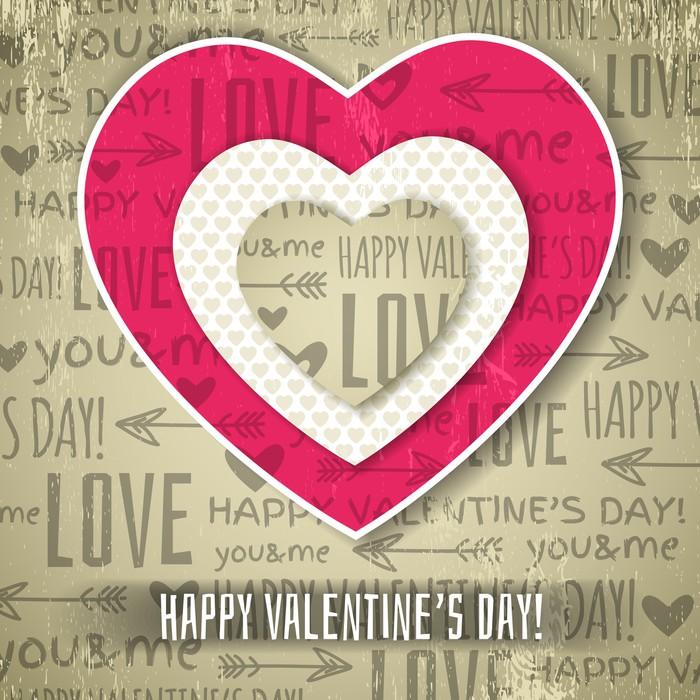 Vinylová Tapeta Béžové pozadí s červenou valentine srdce a chce textu, vec - Mezinárodní svátky