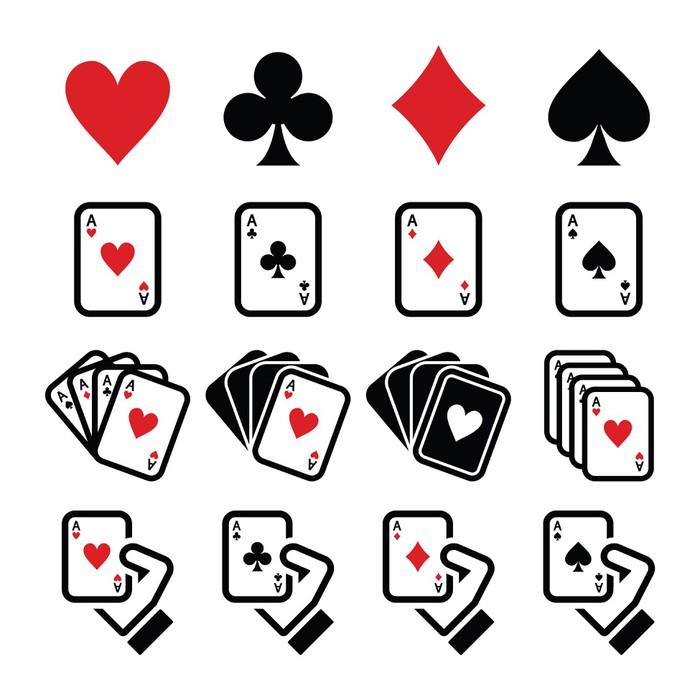 Playing Cards Poker Gambling Icons Set Wall Mural Pixers We