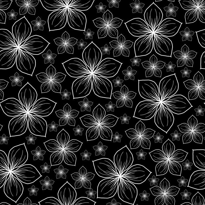 Vinylová Tapeta Bílé květy na černém pozadí - Pozadí