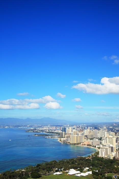 Vinylová Tapeta Pláž Waikiki z Diamond Head - Město