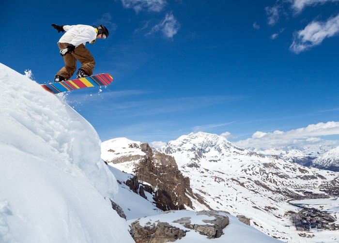 Nálepka Pixerstick Snowboardista na obloze - Zima