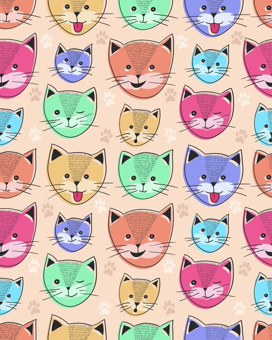 Vinylová Tapeta Roztomilé kočky bezešvé vzor pro děti - Savci