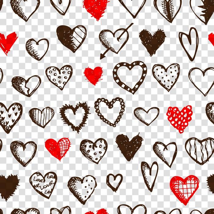 Vinylová fototapeta Bezešvé vzor s valentine srdce pro svůj design - Vinylová fototapeta