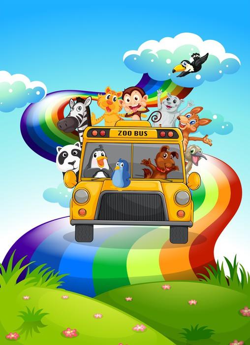 Vinylová Tapeta Zoo autobus cestuje přes duhové cestě - Savci