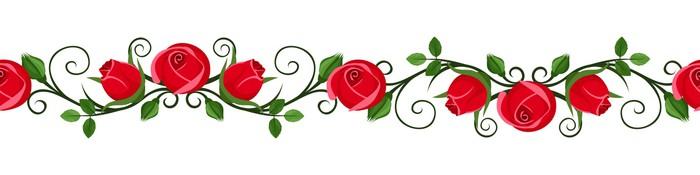 Vinylová Tapeta Vintage horizontální bezešvé medailónek s růžové růže pupeny. - Struktury