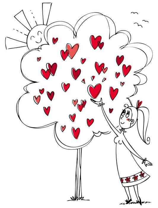 Fotomural Chica joven en el amor recogiendo un corazón de un árbol ...
