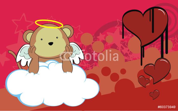 Vinylová Tapeta Monkey andílek kreslená pozadí - Pozadí