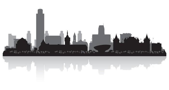 albany new york city skyline silhouette wall mural pixers we