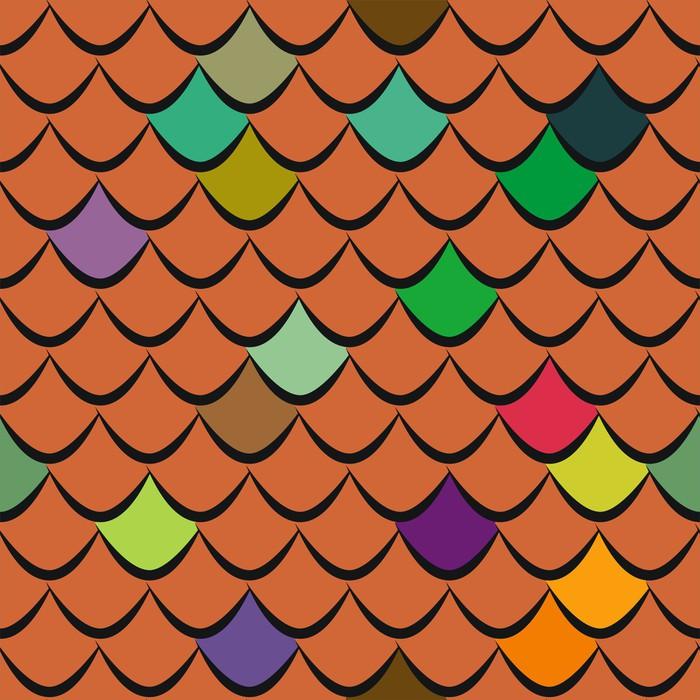 Nálepka Pixerstick Střešní tašky bezešvé vzor vektoru - Těžký průmysl