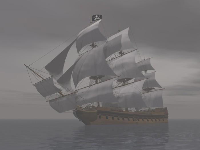 Vinylová Tapeta Pirátská loď v mlze-3D render - Témata