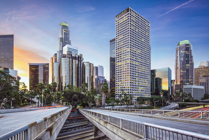 Downtown Los Angeles California Cityscape Wall Mural Pixers We