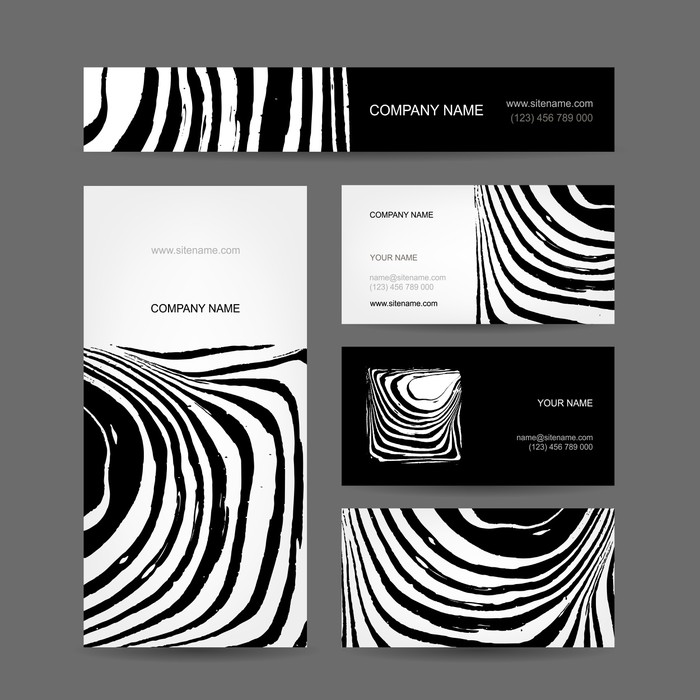Set of abstract creative business cards, zebra print design Wall ...