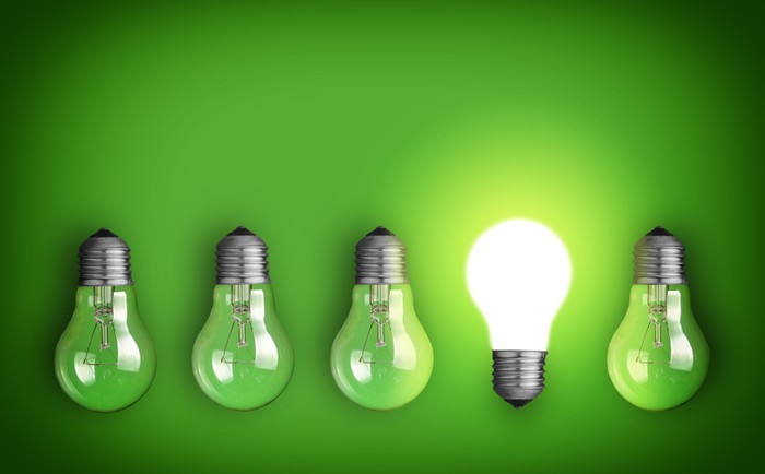 Idea concept with row of light bulbs and glowing bulb wall mural idea concept with row of light bulbs and glowing bulb vinyl wall mural business concepts aloadofball Gallery