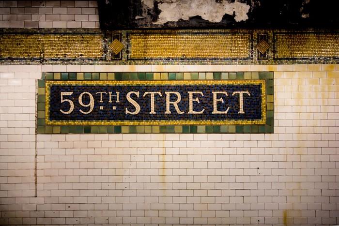 Fototapete Weinlese-U-Bahn-Fliese Wand, 59th Street, New York City ...