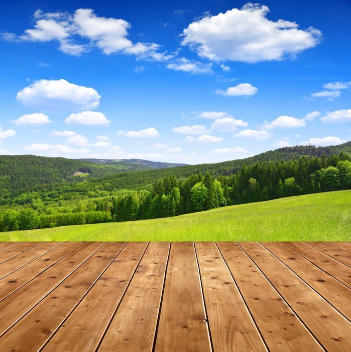 Vinylová Tapeta Dřevěný stůl na jaře krajině - Venkov