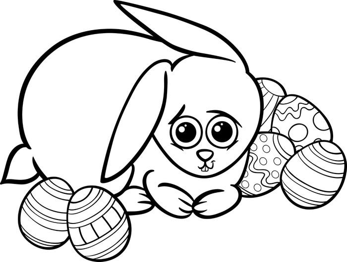 Vinilo Pixerstick Pascua conejo de dibujos animados para colorear ...
