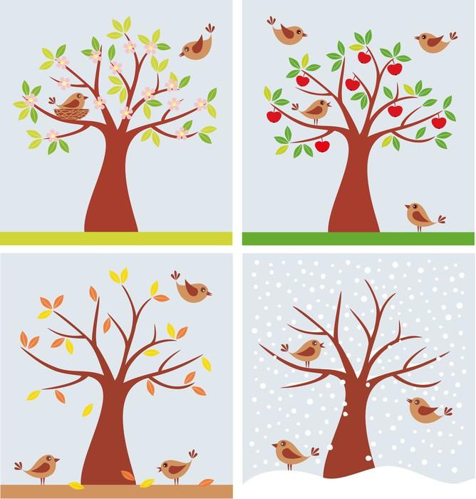 papier peint arbre et les oiseaux mignons en quatre saisons pixers nous vivons pour changer. Black Bedroom Furniture Sets. Home Design Ideas