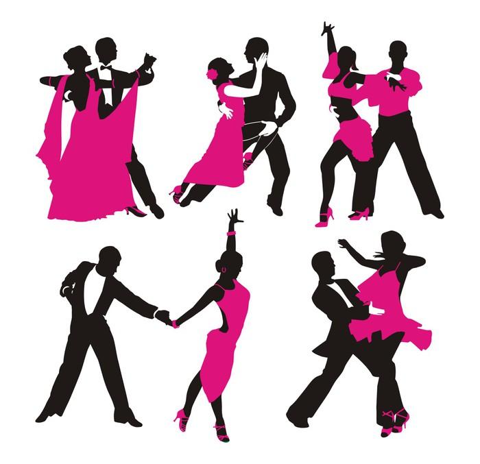 Sticker silhouette d 39 un couple dansant pixers nous for Blog danse de salon