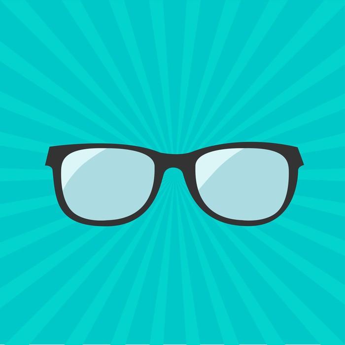 f627080d5bd0 Glasses icon. Sunburst background. Fridge Sticker • Pixers® • We ...