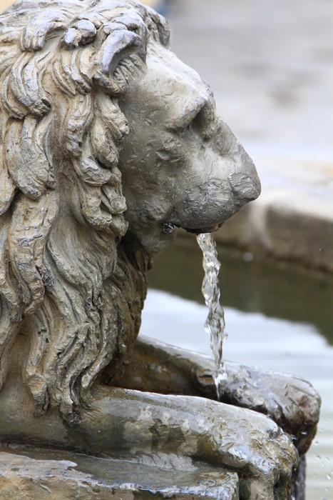 Vinylová Tapeta Bronzová kašna ve tvaru leon uvolnění vody přes ústa - Památky