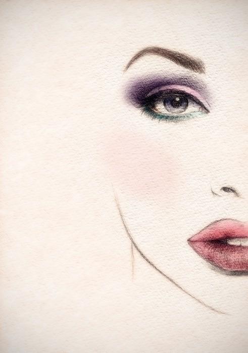 Vinylová Tapeta Krásná ženská tvář. akvarel ilustrace - Témata