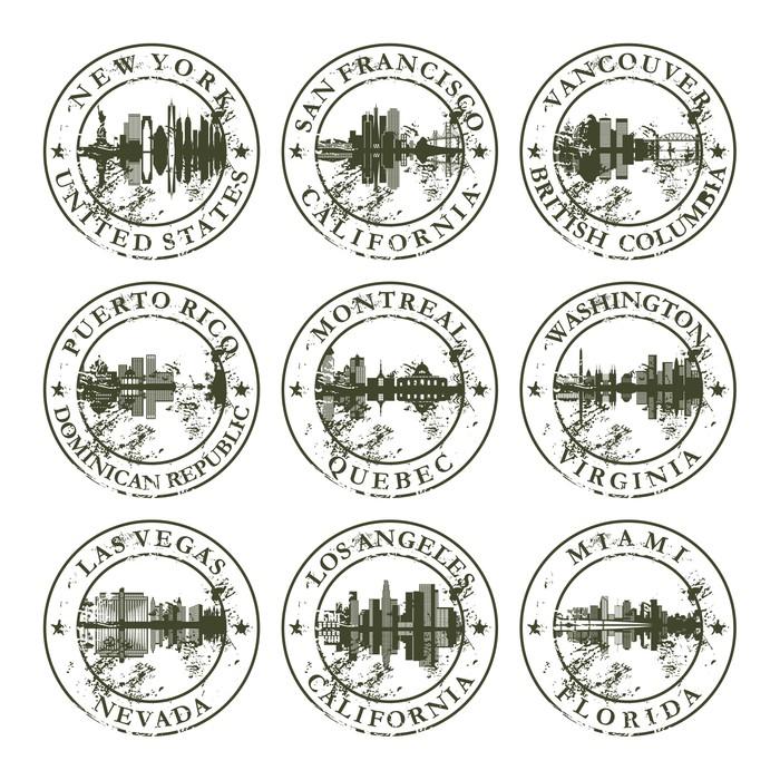 Vinylová Tapeta Grunge razítka s New York, San Francisco, Vancouver, Pu - Těžký průmysl