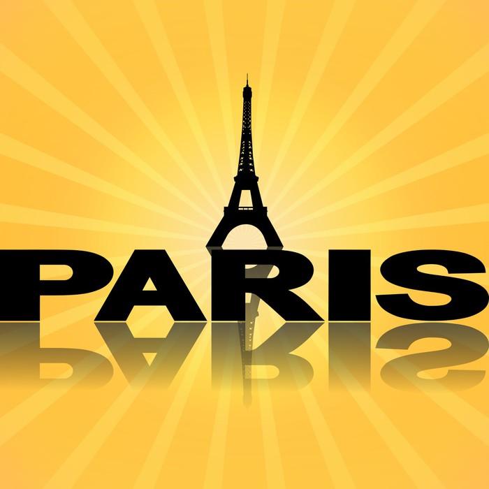 Vinylová fototapeta Eiffelova věž v Paříži odráží s sunburst ilustrace - Vinylová fototapeta