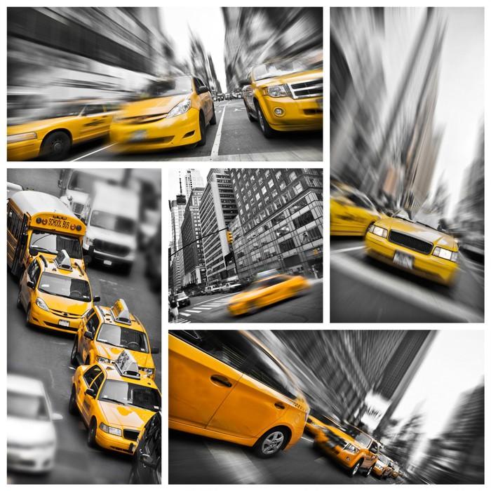 Papel pintado nueva york taxis amarillos collage pixers - Papel pintado nueva york ...