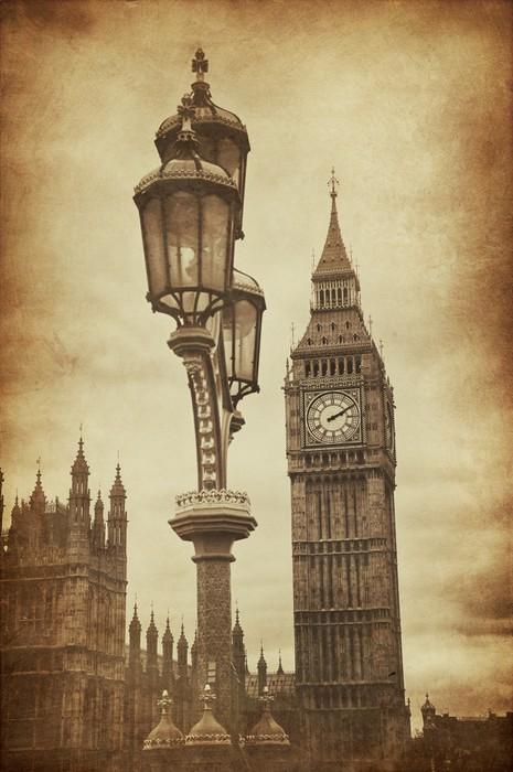 Vinylová Tapeta Aged Vintage Retro Obrázek Big Ben v Londýně - Témata