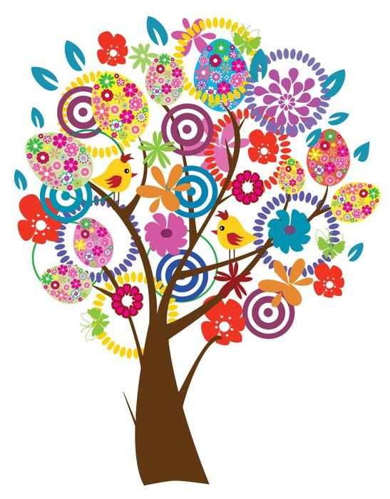 Vinylová Tapeta Vektor Velikonoční strom krásné - Nálepka na stěny