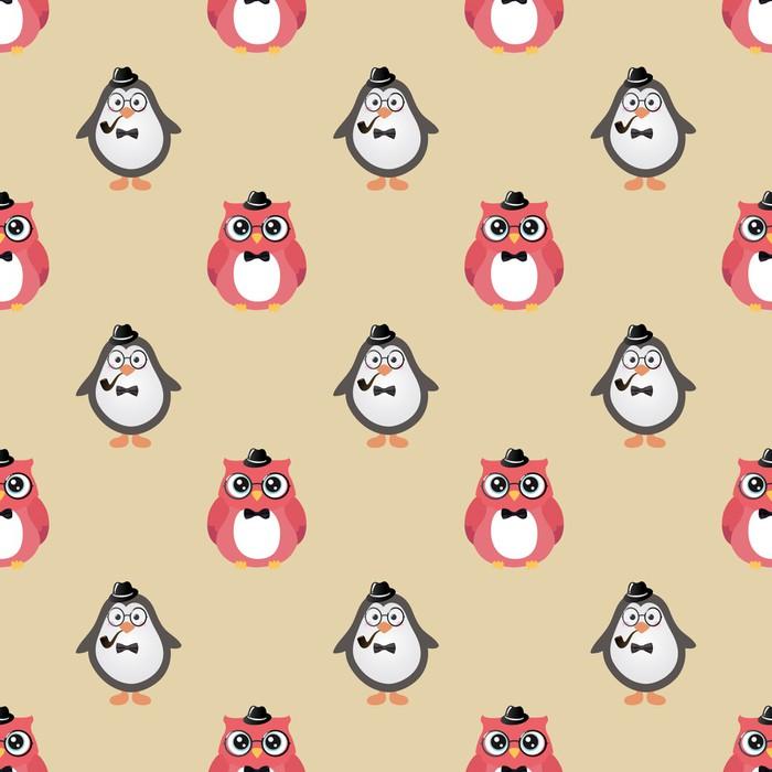 papier peint hipster oiseaux mignons vecteur de fond transparente penguin hibou pixers. Black Bedroom Furniture Sets. Home Design Ideas