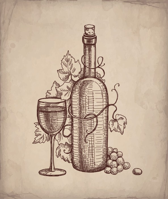 Vinylová Tapeta Kresba tužkou láhev vína - Alkohol
