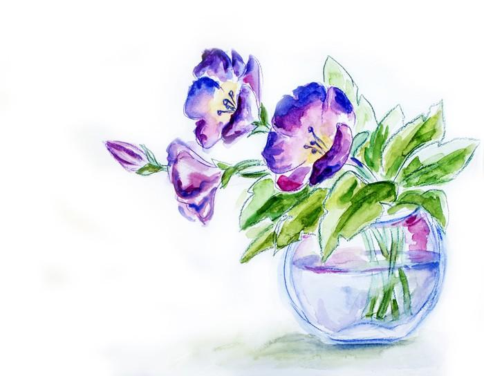Spring Flowers In Vase Watercolor Illustration Wall Mural Pixers