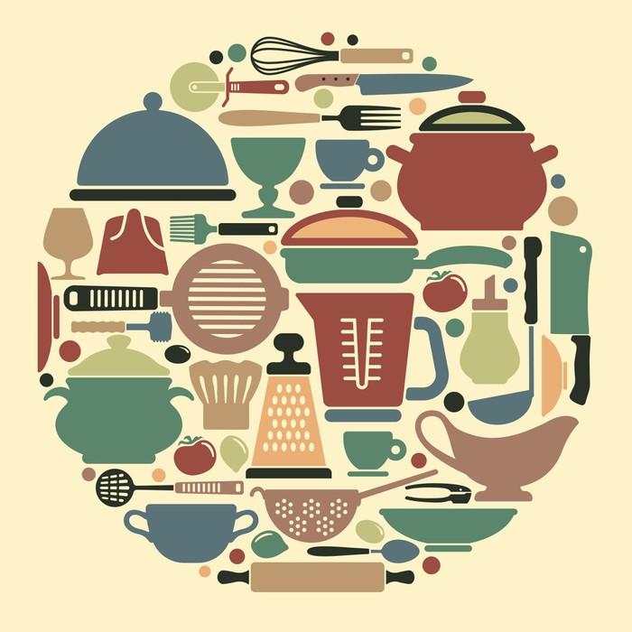 papier peint silhouettes d 39 ustensiles de cuisine et ustensiles pixers nous vivons pour changer. Black Bedroom Furniture Sets. Home Design Ideas