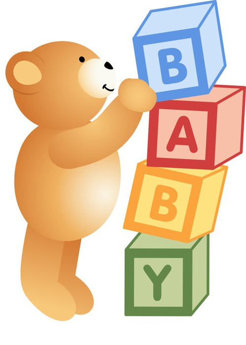 Teddy Bear Playing with Alphabet Blocks Wall Mural • Pixers® • We ...