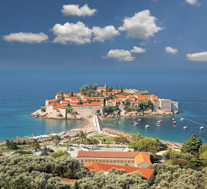 Vinylová Tapeta Sveti Stefan, Island Resort, Černá Hora, ranní světlo - Evropa