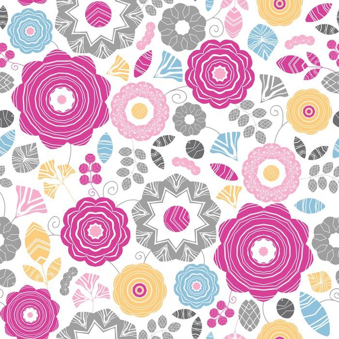 Vinylová Tapeta Vektorové vibrující květinový scaterred bezešvé vzor na pozadí s - Květiny