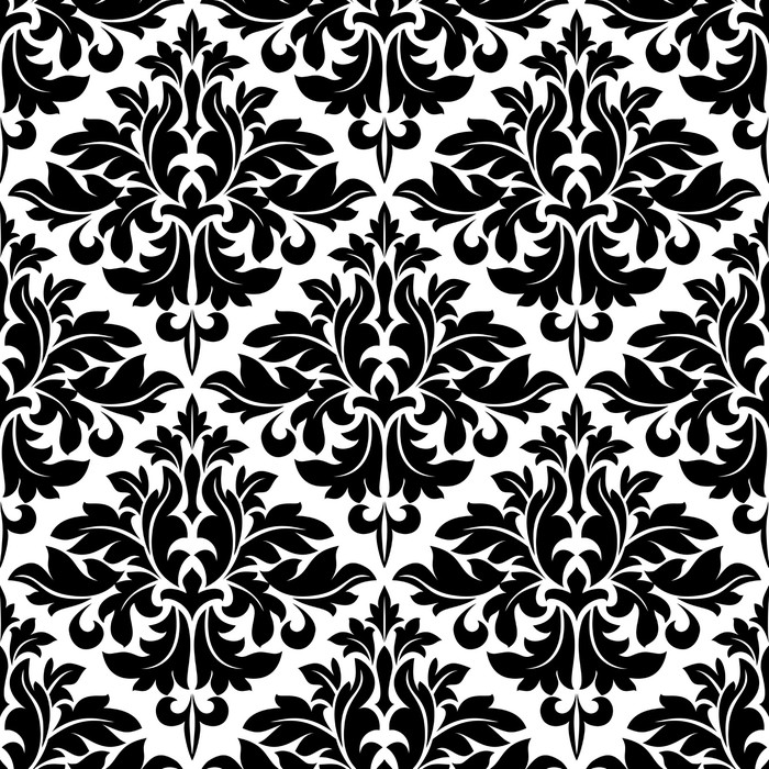 papier peint motif floral arabesque noir et blanc pixers. Black Bedroom Furniture Sets. Home Design Ideas