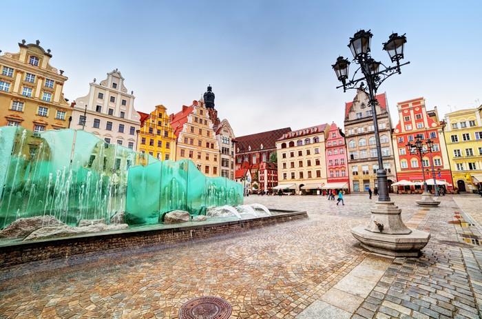 Vinylová Tapeta Wroclaw, Poland. Náměstí se slavnou fontánou - Témata