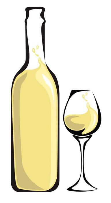 Vinylová Tapeta Bílé víno láhev se sklem - Alkohol