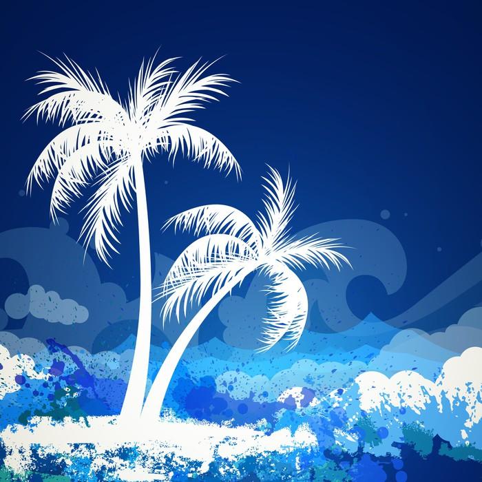 Vinylová Tapeta Vektorové ilustrace letní pozadí s dvěma palmy - Palmy