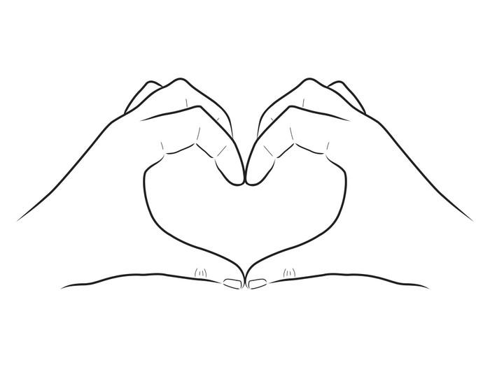 fotomural blanco y negro dibujo vectorial dos manos que forman un coraz n pixers vivimos. Black Bedroom Furniture Sets. Home Design Ideas