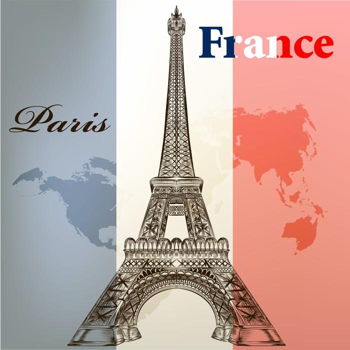 Vinylová Tapeta Umění vektorovou koncepční pozadí s Eifel věž a Francii f - Evropská města