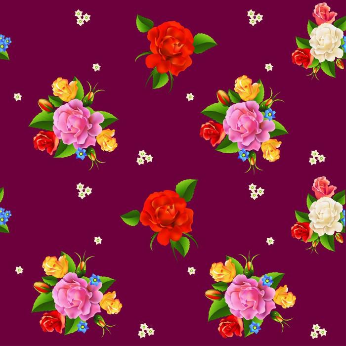 Vinylová Tapeta Bezešvé růže vzor - Květiny