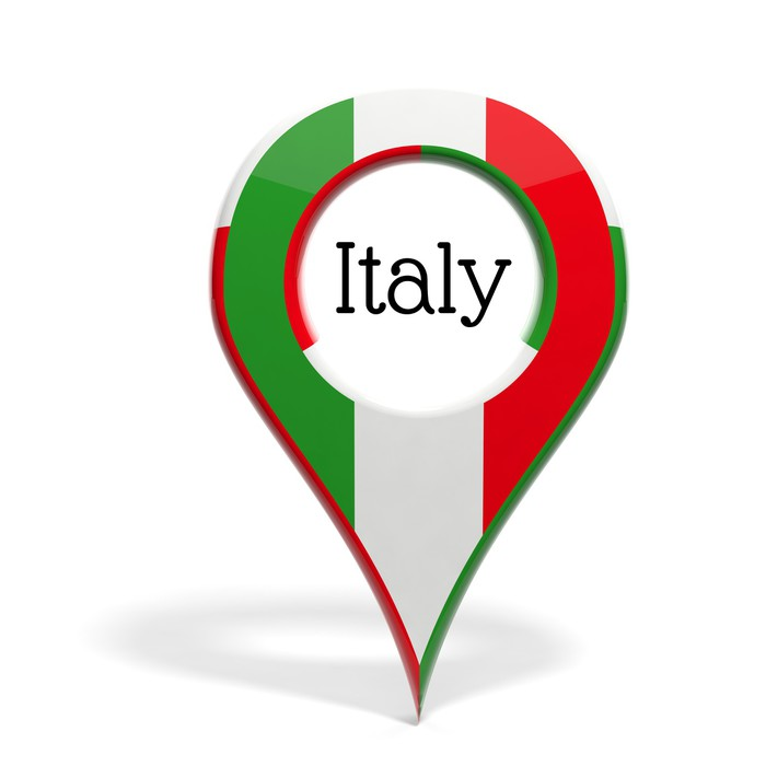 3d Pinpoint With Flag Of Italy Isolated On White Wall Mural Pixers