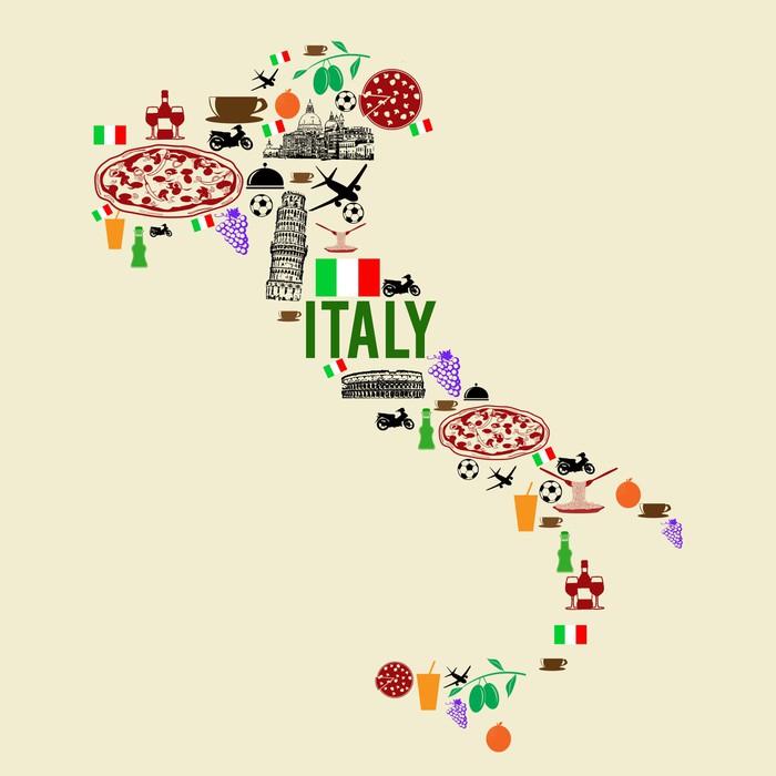 Vinylová fototapeta Itálie mezník mapa silueta - Vinylová fototapeta