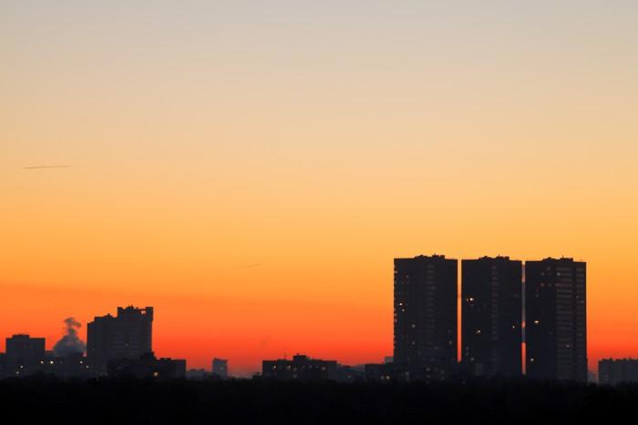 Vinylová Tapeta Panorama s ranní oranžové svítání - Nebe